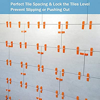 Tile Leveling System DIY Tiles Leveler Spacers 1/16 Inch - 300-Piece Leveling Spacer Clips Plus 100-Piece Reusable Wedges