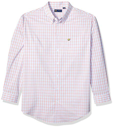 Jack Nicklaus Men's Gingham Long Sleeve Button-Down Shirt, Coral Quartz (Jack Links Apparel)