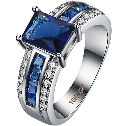 LWLH Womens 18K White Gold Plated Princess Cut Blue Sapphire 3 Row Cubic Zirconia CZ Promise Wedding Ring Szie (18k White Gold 3 Row)
