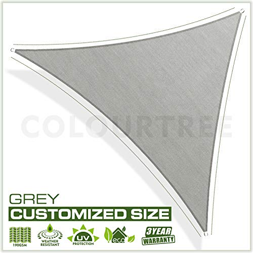 ColourTree 20 x 20 x 20 Grey Sun Shade Sail Square Canopy UV Resistant Heavy Duty Commercial Grade -We Make Custom Size