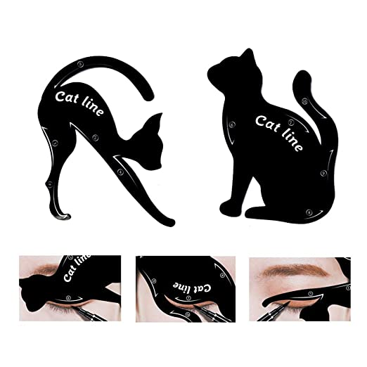 TailaiMei 2 Pcs Cat Eyeliner Stencils, Matte PVC Material Smoky Eyeshadow Applicators Template Plate, Cat Shape Eye liner & Eye Shadow Guide Template Tool best eyeshadow stamp