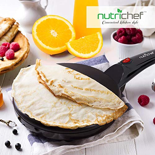 NutriChef Electric Griddle Crepe Maker - Pan Style Hot Plate Cooktop with ON/OFF Switch, Nonstick Coating, Automatic Temperature Control & Plug-in Operation for Kitchen & Countertop - PKCRM08 by NutriChef (Image #6)