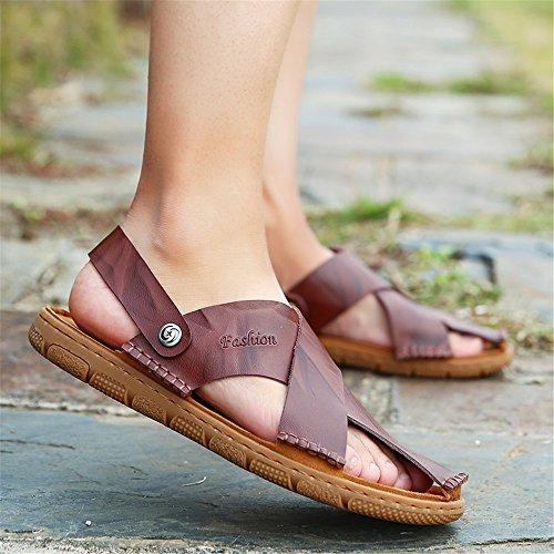 Sandalias de Sandalias de BINODA Color Antideslizantes Cuero Zapatillas Dedo Genuino Respaldo tamaño Marrón EU de sin Negro Hombres para 40 Cerradas Playa EwdCw5q