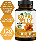 Biofinest Royal Jelly 2000mg - 100% Pure Fresh Non-GMO Freeze-Dried Bee Royal Jelly - with 10-HDA - Organic Collagen Supplement for Immune Health, Vitality, Skin Care, Stamina (120 Vegan Capsules)