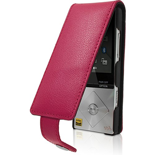 iGadgitz Pink Leather Flip Case Cover for Sony Walkman NWZ-A15 A17 8GB 16GB with Detachable Carabiner + Belt Loop + Magnetic Closure + Screen Protector