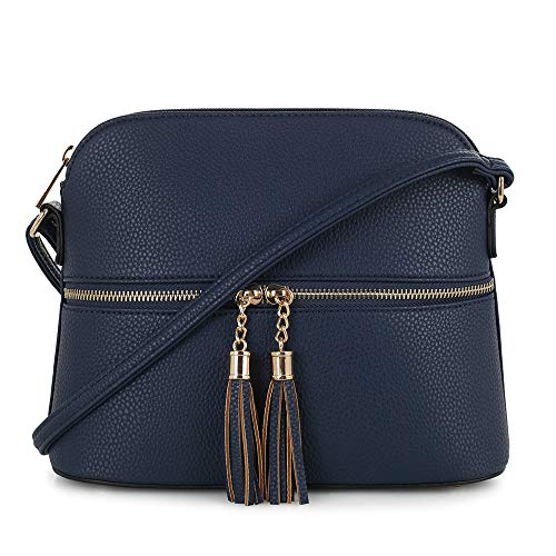 (SG SUGU Lightweight Medium Dome Crossbody Bag with Tassel | Zipper Pocket | Adjustable Strap (Navy))
