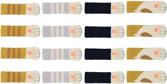 Gasea 20pcs Chaussettes de Chaise Jambe Chaussette 5 Set Pied de Table Chaussettes /à Tricoter en Forme Chat Meubles Jambe Tapis Protecteur