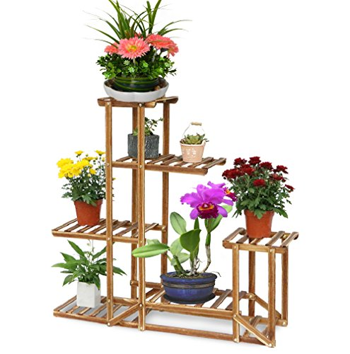 UNHO Wooden Plant Flower Display Stand Wood Pot Shelf Storage Rack Outdoor Indoor 6 Pots Holder 96x95x25Cm (Outdoor Display Stands)