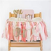PapaKit Baby Girls 1st Birthday Little Princess High Chair Premium Decoration Set (Crown Hat, Cake Topper, Banner, Garland)
