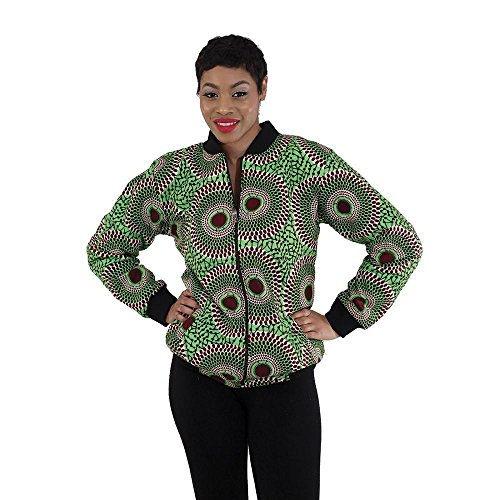 utopia africa African Print Bomber Jacket: Lime - Large by utopia africa