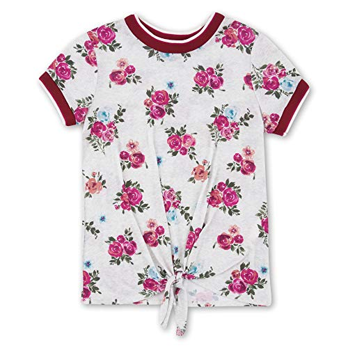 Speechless Big Girls Sporty Tie Front T-Shirt, Pink Red Floral, M