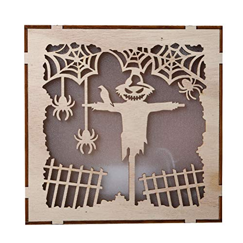 Vosarea Wooden Halloween LED Light with Spider Pumpkin Pattern for Halloween Wall Decorations Halloween Home Decor Props Gifts (No Battery) -