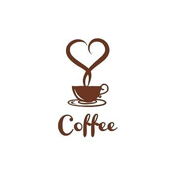 Love tazas de café Cocina Pared Calcomanías de Vinilo Arte Calcomanías Cafe Restaurante Corazones Hazlo tú mismo