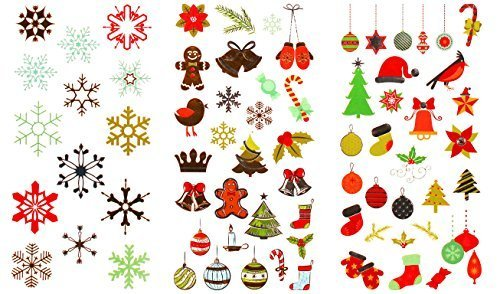 Holiday Tattoos - 325 Christmas and Holiday Temporary Flash Tattoos (10 Premium Sheets of Metallic Gold, Silver, Red, Black, Green and Multi-Color, Multi Design Festive Tattoos)