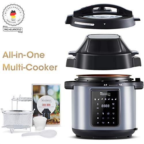 MICHELANGELO 6.5 QT Pressure Cooker Air Fryer Combo, All-in-1 Pressure Fryer with Air Fryer - Two Detachable Lids, Steamer Basket, Roast Rack & Free Recipe Book, Air Fryer Pressure Cooker Combo - 6.5 Qt