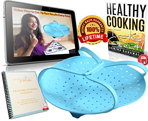 Maison Parfaite Food and Vegetable Silicone Steamer Basket with Video and eBook (Electric Blue)