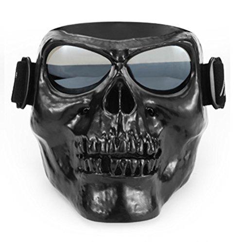 ISHOWStore - anteojos de equitación para Motocicleta, con máscara de Calavera, Casco Abierto, Black Skull with Silver Lens,...