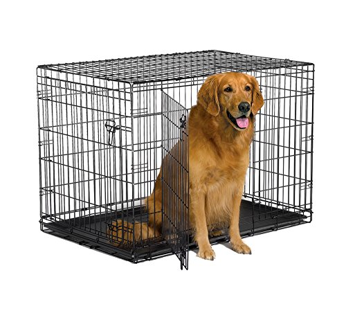 "New World 42"" Double Door Folding Metal Dog Crate, Includes Leak-Proof Plastic Tray; Dog Crate Measures 42L x 30W x 28H Inches, Fits Large Dog Breeds"