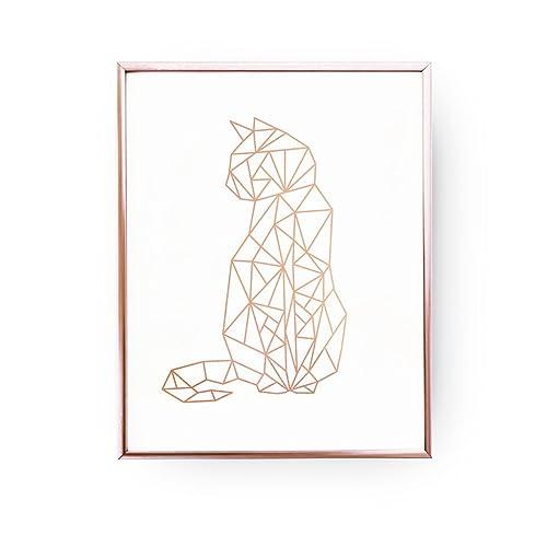 Superieur Cat Print, Geometric Cat, Cat Wall Art, Rose Gold Foil, Cat Geo