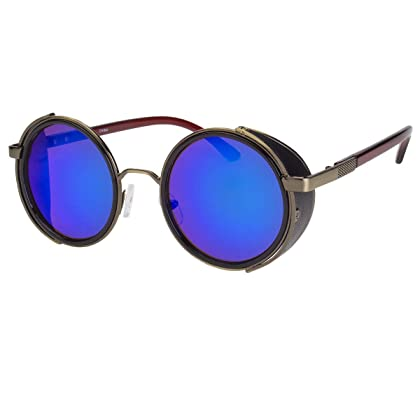 83f2f713d82d Vintage Retro Mirror Round Sun Glasses Goggles Steampunk Punk Sunglasses-  Sold by Ed Em! (Ocean Blue)