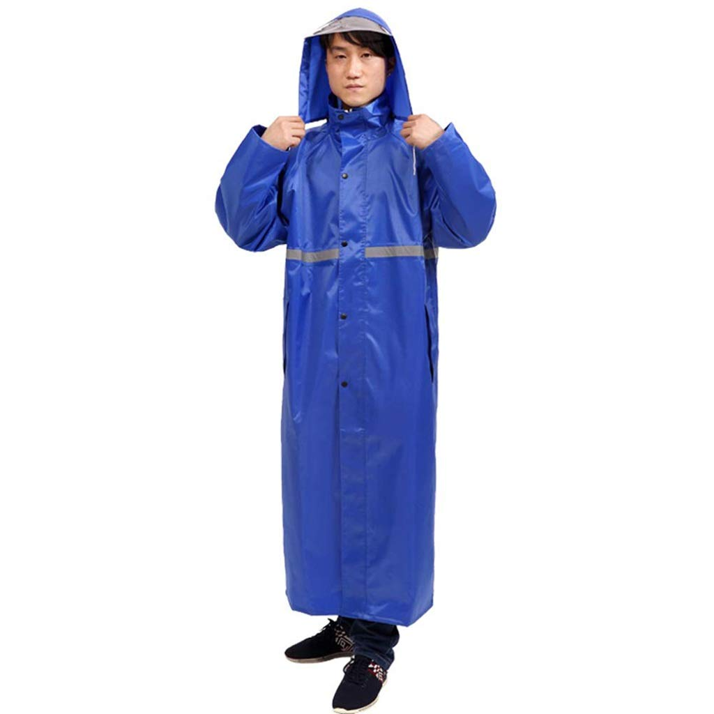 Bleu XX-grand TzJz Costume imperméable Pluie Veste Manteau Coupe-Vent Poncho Pluie Coupe-Vent Adulte randonnée Mode imperméable équitation Longue épaisseur imperméable en Plein air
