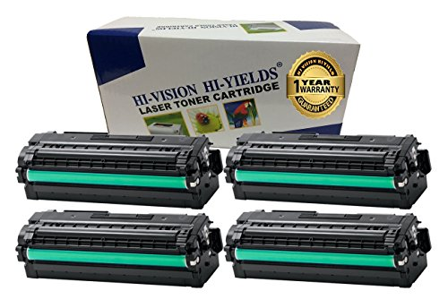 HI-VISION Compatible CLT-K505L CLT-C505L CLT-Y505L CLT-M505L Color Laser Toner Cartridge Replacement for Samsung ProXpress SL-C2620DW, C2670FW (505L Black, Cyan, Yellow, Magenta 4 Pack ) ()