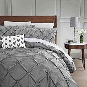 HOME HUG TEXTILES 3 Piece Luxurious Pinch Pleat Decorative Pintuck Duvet Set - Hypoallergenic - 1800TC Polyester Bedding Set with Zipper Closure - Queen/Grey