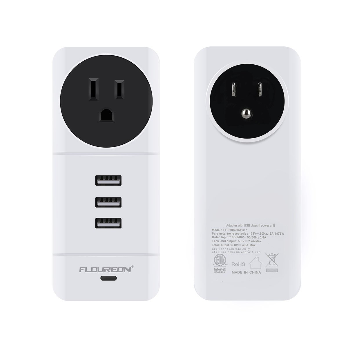 FLOUREON Power Strip USB Phone Charger Portable Travel Wall Charger with Rotate Plug(1 AC Outlet + 3 USB Ports) Charging Station with Smart IC