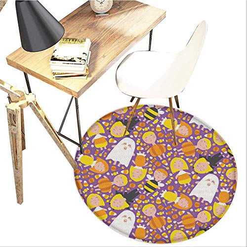 (Ghost Round Area carpet,Cheerful Kids in Different Halloween Costumes Happy Fun Party Trick or Treat Night Design Print,Living Room Bedroom StudyNon-Slip Round Carpet,4-Feet)