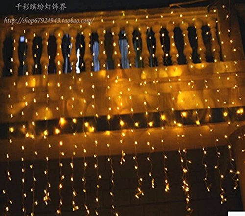 - 1.5m X 1.5m 144 Warm White LED Hanging Snowing Icicle Curtain Lamp Xmas Fairy String Lights Wedding Party Decor Us