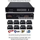 8x16 HDbaseT 4K Matrix SWITCHER 8x8 16x16 with 8 Receivers & Audio Matrix CAT6 CAT5e HDMI HDCP2.2 Routing SPDIF Audio CONTROL4 Savant Home Automation (8x16 HDbaseT Matrix (Version 2) - 230ft)