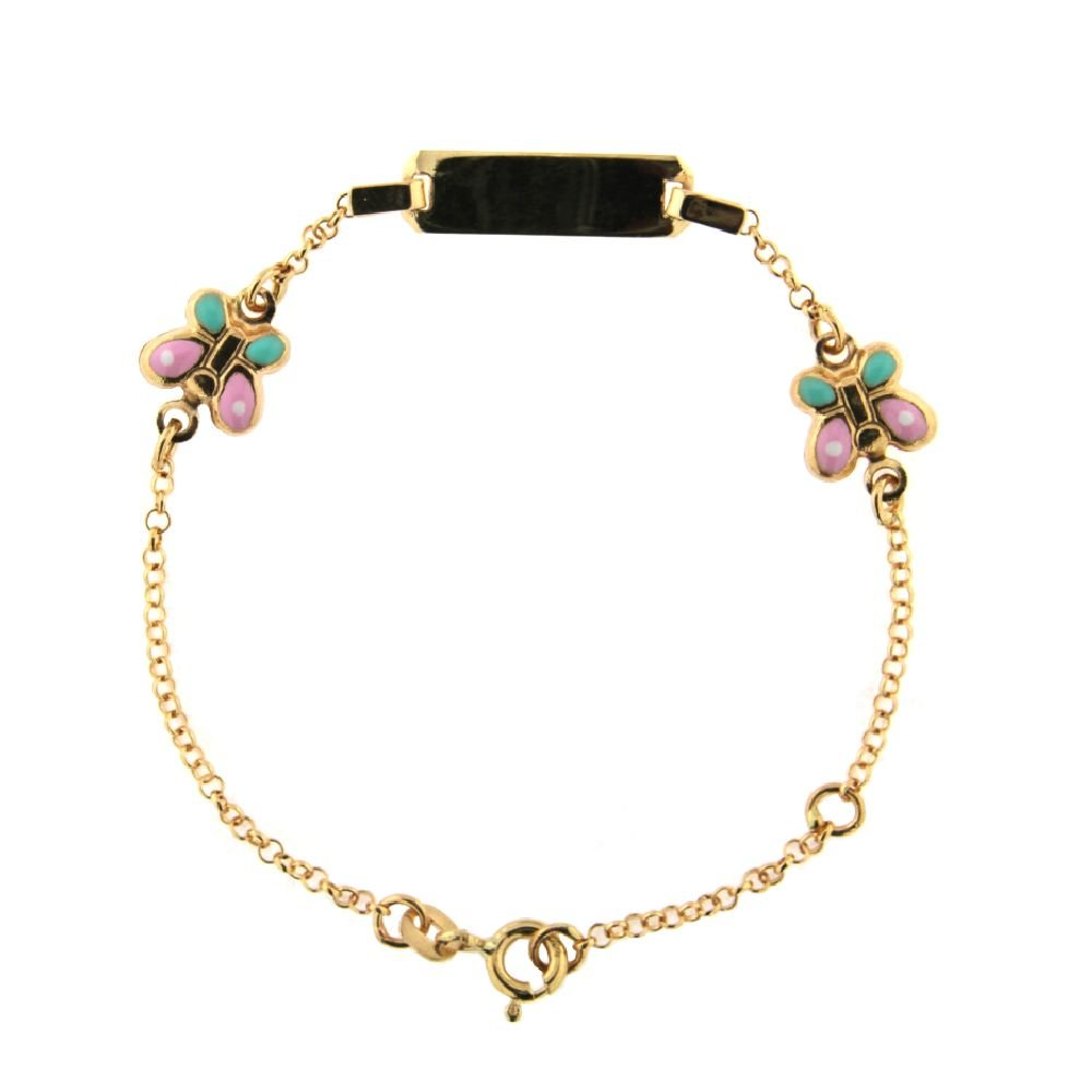 18K Yellow Gold Enamel Butterflies Id Bracelet 6 inches with extra ring at 5.75 inches