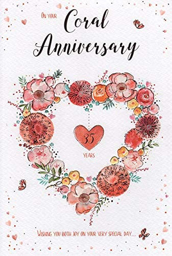 ICG On Your Coral Anniversary Card - 8th Wedding Anniversary - Floral Heart