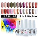 Vishine 24Pcs Gift Set Gel Nail Polish Kit Soak Off UV LED Nail Gel Polishes for Nail Art 8 ML/PC Pack of 24 Pretty Colors Series Kit