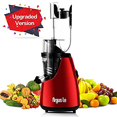 "Juicer, Argus Le Slow Masticating Juicer Extractor, 3"" Wide Chute Cold Press Juicer Machine, Low Speed Juicer for High Nutrient Fruit and Veggies Juice"