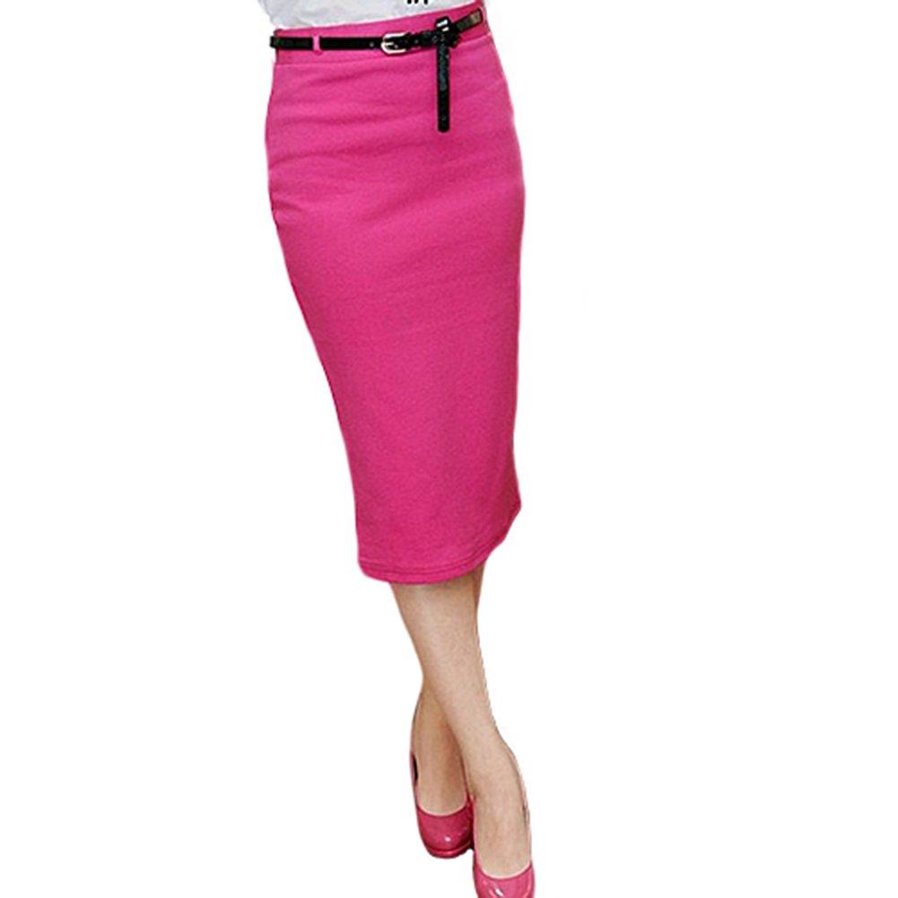 Women's High Waisted Pencil Skirt Stretch Knee Length Skirt (Rose Red)