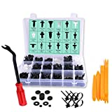 445 Pcs Car Retainer Clip Kit with Plastic Fastener - 18 Most Common Sizes & Applications - Door Trim Panel Clips - Auto Push Retainer Set for BMW Benz Toyota Honda Nissan Subaru Audi Mazda