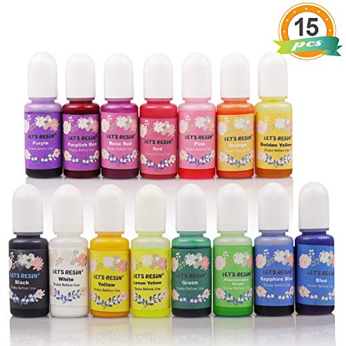 (LET'S Resin 15 Colors Epoxy Pigment, Translucent Liquid Resin Colorant Each 0.35oz, Non-Toxic Epoxy Resin Dye Mix Color Liquid Dye for Resin Jewelry DIY Crafts Art Making)