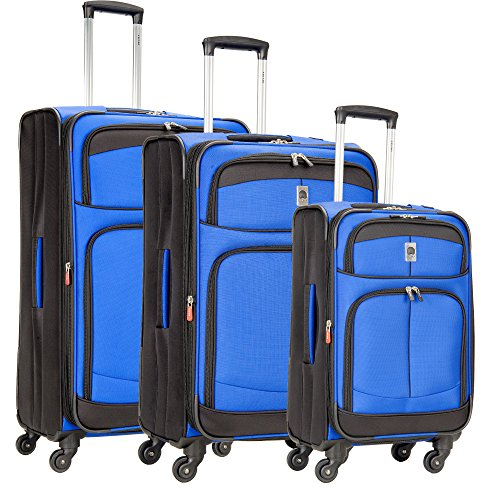 Delsey Agility Softside 3 Piece Nested Luggage Set | 21'', 25'', 29'' (Blue) by DELSEY Paris