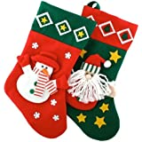Novelty Christmas / Xmas 3D Felt Santa & Snowman Stocking 40cm x 25cm (i.e. Santa Sack Ideal Pre- Christmas Gift) (2 Pieces Supply)