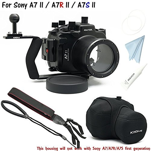 For Sony A7II A7R II A7S II [ILCE-7M2/7RM2/7SM2] 130FT/40M Underwater camera diving waterproof housing(Housing+Handle+Cover)