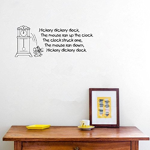 Wall Decal Sticker Art Mural Home Dcor Quote Hickory Dickory Dock Quotes Wall Stickers for Baby Kids Nursery Rhyme Childrens Room Vinyl Wall Art Sticker Decal]()