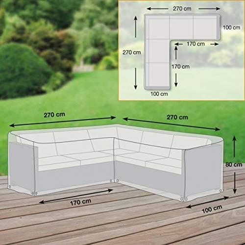 Destiny Premium Schutzh/ülle 270 x 270 x 80 cm L-Form Lounge Sitzgruppe Schutzhaube H/ülle