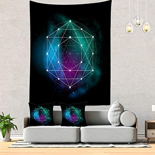 Batmerry Sacred Geometry Tapestry, Metatrons Cube Sacred Geometry Picnic Mat Hippie Trippy Tapestry Wall Art Meditation Decor for Bedroom Living Room Dorm, 82.7 x 59.1 Inches, Black White
