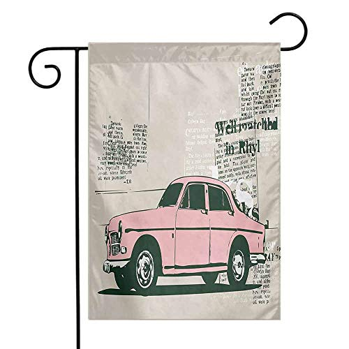 Mannwarehouse Vintage Car Garden Flag Old Model Car and Newspaper Cuts Antique Style Classic Urban Life Illustration Decorative Flags for Garden Yard Lawn W12 x L18 Pink Beige