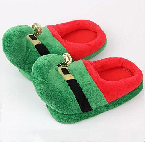 3D Funny Home Slippers Women Men Kids Christmas Costume Santa Elf Bell Velvet Winter Warm Family Shoes Green ShKgZTyk1j