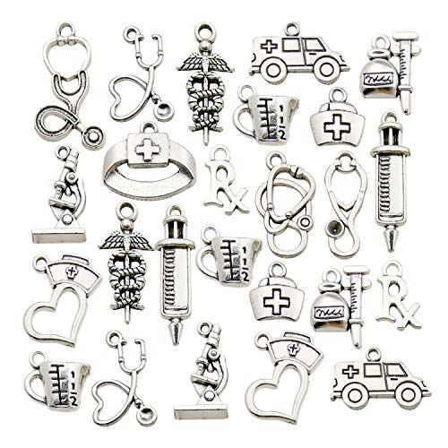 WOCRAFT 70pcs Craft Supplies Antique Silver Medical Nurse Charms Stethoscope Syringe Nurse Cap Hat Charms for Jewelry Making Crafting Findings Accessory for DIY Necklace Bracelet M297