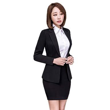 6938ceeeb6570 Yijinxiu フォーマルスーツ レディース 黒 スカートスーツ おしゃれ 結婚式 卒業式 スーツ 母 大きいサイズ