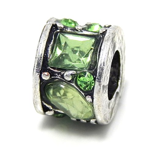 """Pro Jewelry """" Rondelle Mosaic Style Light Green Crystals Rhinestone """" Charm Bead for Snake Chain Charm Bracelets"""