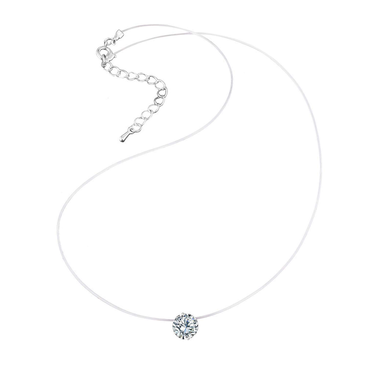 Zircon Stone Transparent Invisible Fishing Line Pendant Necklace for Women Girls Choker Necklace Jewelry Gifts,D